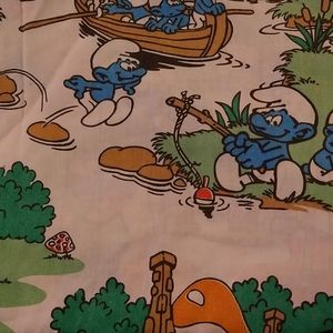 Vintage smurfs top sheet. Could be used for fabric